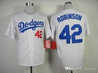robinson - Dodgers Robinson White Cool base Men s Baseball jersey Cheap Athletic Outdoor Apparel Stitched Name and Logo Allow Mix Order