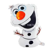 Wholesale Smile Frozen olaf Foil Balloons Anime Cartoon Toys Wedding Baby Birthday Party Decoration Christmas Children s gift cm