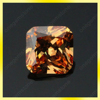 Wholesale Champagne synthetic cubic zircon gemstone asscher shape square cut mm size loose bead