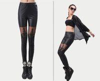 Cheap 2013 Fashion Women's Leather Leggings for Women Pants Leather Pants leggins Lace Leggings women autumn Black lace leggings