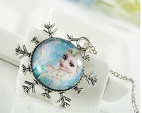 Wholesale Frozen Necklace Princess Pendants Cartoon Flatback Cameo Cabochons Baby Kids Jewelry Accessories Strand Necklaces Jewelry M588