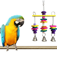 Wholesale 1Pcs Pet Bird Cage Hanging Toy Colorful Natural Wooden Blocks Swing With Bells Funny Chew Toys For Parrot Budgie