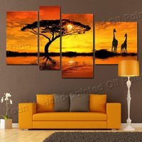 Wholesale 4 piece Hand Painted Landscape Oil Paintings On Canvas Wall Art Beautiful African Scenery Sunset Pictures For Home Decoration