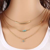 Wholesale Turquoise Beads Sequins Necklaces Multilayered Gold Plated Chains Pendants For Women Summer Style Body Chain Necklaces Eye