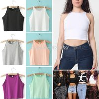 american apparel t shirt colors - American Apparel Street Sexy Women Retro Bare Midriff Tanks Candy Colors O Neck Short Tank Vest Tops Camis Camisole Tee T shirts