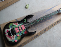Wholesale Hot Selling Green peony Color design Guitar Strings Electric Guitars Whit Hard Case