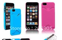 Cheap 100PCS Free Shipping Credit Card ID Pocket Holder Plastic Hard Case Cover For iPhone 5 5G