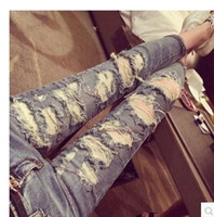 Wholesale Brand New Fashion Women Jeans Skinny Washed Hole Chain Vintage Ripped Jeans Casual Long Pencil Pants Trousers