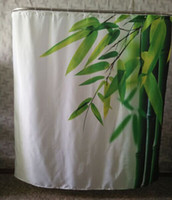 Wholesale 180X180CM Bamboo Leaves Waterproof Fabric Bathroom Shower Curtain Polyester Bath Curtain