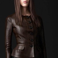 Wholesale leather jackets Autumn short slim split leather sheepskin ruffle exquisite button women popular leather jackets