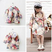 Girl baby girl vintage clothes - 2015 fashion kids girls print flower vintage raincoats children baby girl floral printed rain coat jackets babies clothing