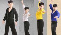 ballroom dancewear men - Children s Blue White Black Ballroom Stage Modern Boys children s Latin dance costumes boys shirt pants suit Latin Dancewear Ruffly