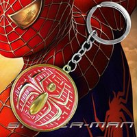 american flag keychain - European and American Movie Spider Man flag Pendant Keychain Justice League stylish cool Spiderman key ring