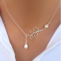 Wholesale 2015 New Fashion jewelry Retro Popular Simple Leaves Pearl Necklace For Women Pearl Jewelry Charm Infinity chain Pendant Necklaces N24