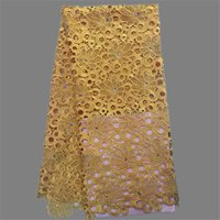 dress fabrics - Most fashion gold chemical cord lace material with stones African guipure lace fabric for party dress JWZ1 yards pc