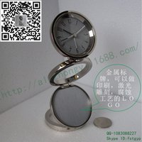 Wholesale Zinc alloy metal factory outlets folding metal Fourth Ring bell alarm clock brand promotional gift table clock