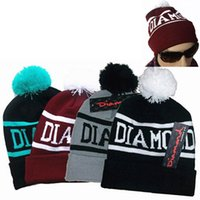 Wholesale Hat Hip hop Ball Beanie Cap Winter Unisex Diamond Knit Ski Warm Crochet Slouch