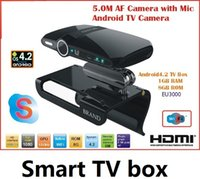 Wholesale Android tv box Dual core G G Sky Google Smart tv box with MP Camera Mic Set top Boxes HD22