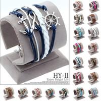 best friendship bracelets - Hot men Fashion jewelry love owl Charm anchor leather bracelets best friend friendship bracelet and bangles pulseira de ancora