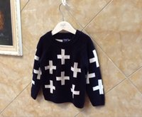 Wholesale for spring autumn winter ins hot sale kids children s cross sweater baby toddlers boy s cross print pullover sweaters outerwears
