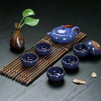 ceramic glaze - Ice Cracked Glaze Ceramic Chinese Kung Fu Tea Set Tea Service Teapot x Colorful Tea Cups x