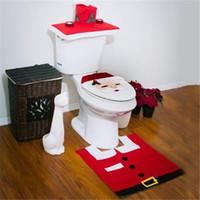 Cheap Christmas Santa Claus Toilet Seat Cover Rug set Foot Pad Brushed Xmas Decor Bathroom set hign quality DHL free shipping