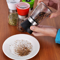 Wholesale Four Colors Glass Pepper set Salt Herb Spice Hand Grinder Mill manual pepper mill Kitchen Gadgets Mills Hot Sale