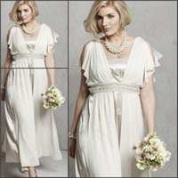 Cheap 2015 Ankle Length Plus Size Wedding Dresses Personalized For Vintage Womens Brides Greek Goddess Grecian Pearls Split Bridal Party Gowns UK