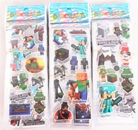 Wholesale Minecraft Stickers My Little Pony Wall Stickers Cartoon Children Kids Puffy Toys Boys Girls Craft Book Bubble Paster Christmas Decals cm