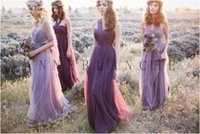 purple wedding dress - Purple Lavender Sheer Straps Bridesmaid Dresses For Maid Of Honor Wedding Party Gowns Floor Length Cheap Evening Formal Gowns ZC