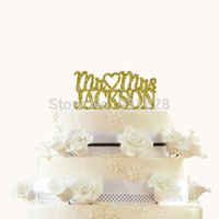 Wholesale gold Glitter Wedding Cake Topper Personalized Cake Topper Mr and Mrs Custom Last Name Wedding Cake Topper