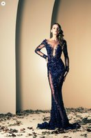 naked 2 - 2015 Ziad Naked Dark navy sexy mermaid sheer evening pageant dresses with long sleeves bateau applique lace sweep train prom gowns