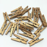 Wholesale 100pcs mm Gold Color Mini Wood Pegs Clothespins Clothes Pins For Scrapbooking Stamping Kids Crafts Wedding Photos Hanging
