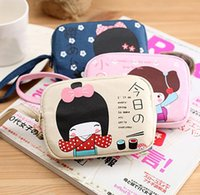 Cheap Wholesale-Fashion Stationery Zakka Lovely Sweet Japan Girl Painting Double Zipper Canvas Handbag Pencil Case Cosmetic Pen Bag