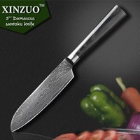 Wholesale 2015 NEW quot Japanese VG10 Damascus steel chef knife kitchen knife santoku knife with forged Black G10 handle FREE SHIIPPING