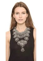 Wholesale Vintage style silver plated alloy resin shourouk statement necklace