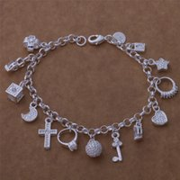 Wholesale Retail lowest price Christmas gift new silver fashion Bracelet CZ Crystal gemstone cross moon charms bracelet