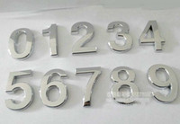 Wholesale Top quality Modern Silver House Door Address Number Digits Numeral Plate Plaque Sign Size x30x6mm Convenient Room Gate Number