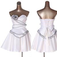 apple photo shop - white Prom Dresses Custom Made Fold Satin Hand Made Flower Flouncing A Line No Risk Shopping girls special occasion dresses