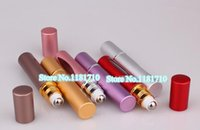 Wholesale Aluminum Refillable Perfume Bottle ml Roll On Bottle Cosmetic Essential Oil Bottle with Roll On Ball lot1170