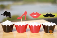 Wholesale Funny Wedding Centerpieces Lips Beard Cupcake Wrapper Decorating Boxes Cake Cup With Toppers Picks For Christmas Decorations Supplies