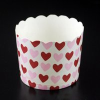 Wholesale set Mini Paper Bakeware Cups Liner Muffin Cupcake Paper Cake Case Heart Pattern