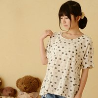 japanese fashion clothing - 2015 Korean Fashion New Clothing T shirts Cotton Short Sleeve Loose Polka Dot Print Sweet Casual Fashion Japanese Mori Girl