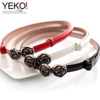 active white roses - YEKO black retro round buckle roses thin belt thin belt female belt red and white drawing of arbitrary regulation