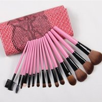 rolling bag - 15PCS Makeup Brushes Set Professional make up brushes kits with Roll up Snake Pattern Pouch Bag