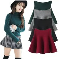 plain jerseys - New Skater Stretch Waist Plain Flippy Flared Pleated Jersey Short Skirt Sundress hot