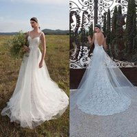 Cheap 2015 White Lace Boho A Line Beach Garden Betra Wedding Dresses Spaghetti Straps Bow Waist Sexy Low Back Bridal Gowns Luxury HC0319