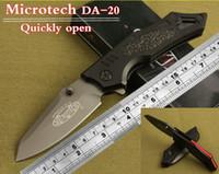 aerospace titanium - Microtech folding knife micro technology gray titanium surface treatment Aerospace aluminum handle outdoor surviva hunting knife
