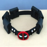 Wholesale New Leather Super Hero Deadpool belt with bags Waistband