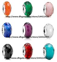 Cheap 9pcs 925 Sterling Silver Screw Colorful Fascinating Faceted Murano Glass Beads Fit Pandora Jewelry Charm Bracelets & Necklaces